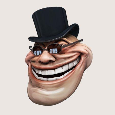 Trollface dark spectacled, in hat. Internet troll 3d illustration