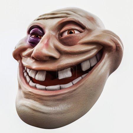 Photo pour Tête de troll Internet avec ecchymose illustration 3d isolé - image libre de droit