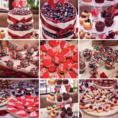 Photo for Colorful cakes collage. Dessert table for a party. Ombre cake, cupcakes, sweetness and flowers. - Royalty Free Image
