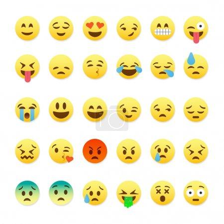 Illustration for Set of cute smiley emoticons, emoji flat design, vector illustration. - Royalty Free Image