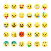 Set of cute smiley emoticons emoji flat design
