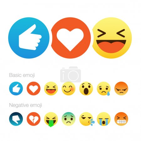 Illustration for Set of cute smiley emoticons, emoji flat design, vector illustration. - Royalty Free Image