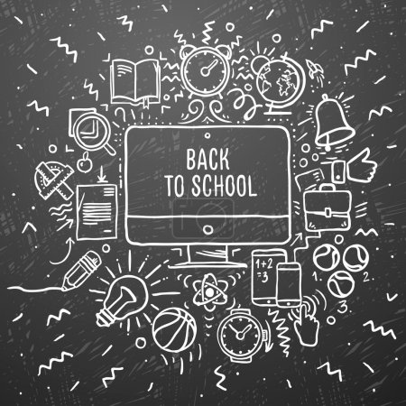 Photo for Freehand chalk drawing school items on the black chalkboard. Back to School, vector Eps10 illustration. - Royalty Free Image