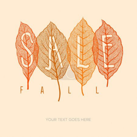 Illustration for Fall sale poster with dried leaves and simple text, vector eps10 illustration. - Royalty Free Image