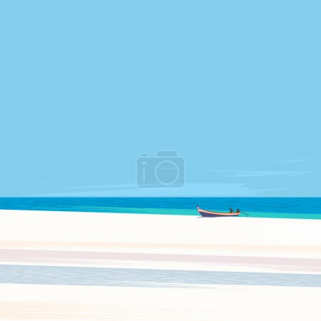 Fishing boat on a beach with white sand