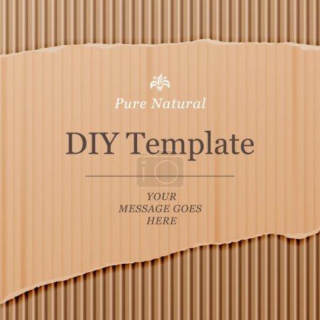 Illustration pour Modèle de bricolage avec fond de texture en carton, illustration vectorielle . - image libre de droit