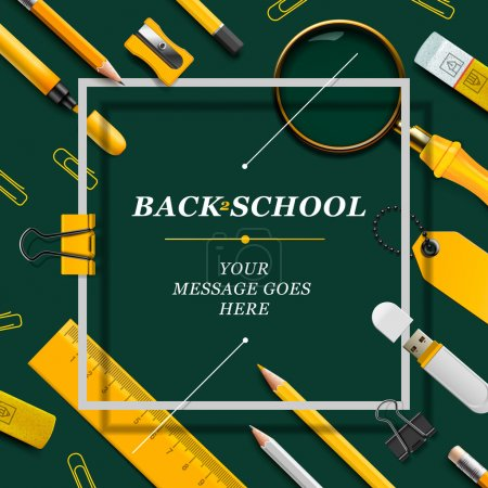 Illustration for Welcome Back to school template with schools supplies, green and yellow colors, vector illustration. - Royalty Free Image