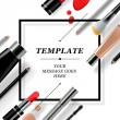 Makeup template with collection of make up cosmeti...