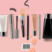 Makeup brush and cosmetics vector illustration