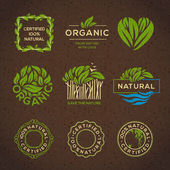 Organic food labels and elements set for food and drink restaurants and organic products vector illustration
