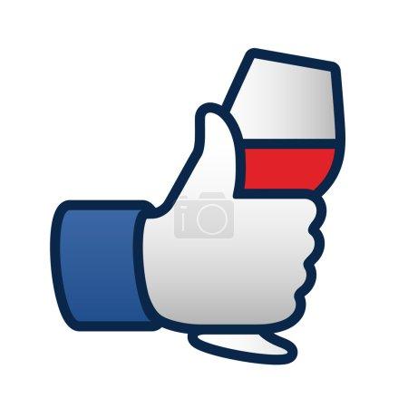 Illustration pour Comme pouce vers le haut icône symbole avec verre de vin rouge, illustration vectorielle - image libre de droit