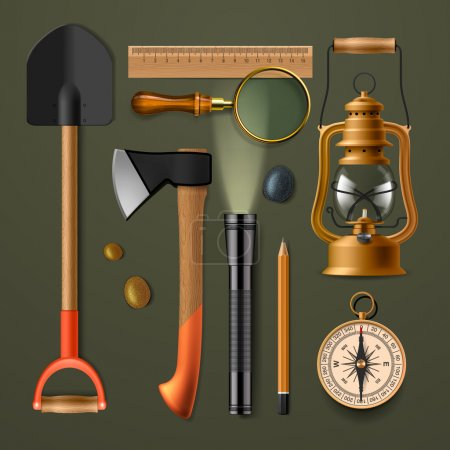 Illustration for Set of camping hiking equipment, vector illustration - Royalty Free Image