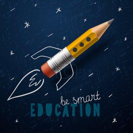 Illustration pour Une éducation intelligente. Lancement de fusée au crayon - croquis sur le tableau noir, illustration vectorielle - image libre de droit
