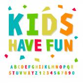 Creative kids funny alphabet and numbers vector illustration