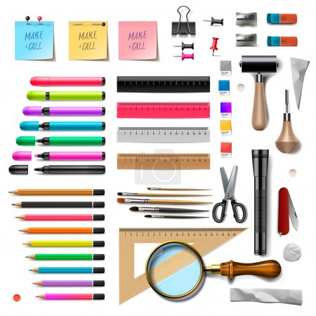 Set of office supplies on white background