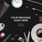 Work space background with copy space for your text business and office supplies on black background vector illustration