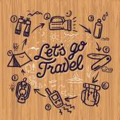 Travel and adventure theme doodle elements