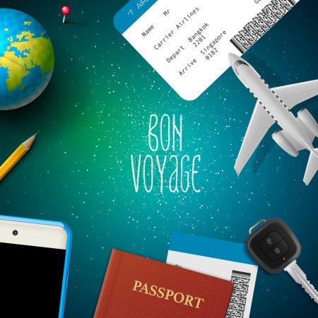 Illustration pour Bon voyage, voyage, vacances, voyage, design avec avion, téléphone intelligent, billet, passeport, globe, clé, illustration vectorielle . - image libre de droit