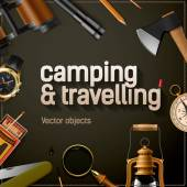 Camping and travelling template vector illustration