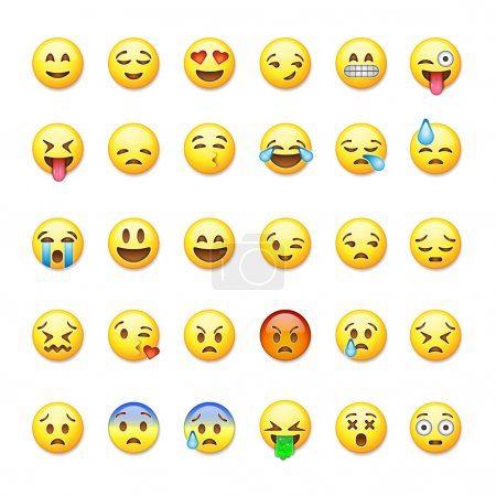 Illustration for Set of emoticons, emoji isolated on white background, vector illustration. - Royalty Free Image