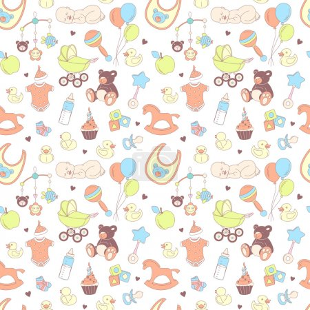 Baby shower seamless pattern. Texture for baby girl and baby boy