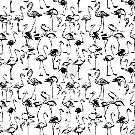Tropical exotic birds flamingos summer seamless pattern. Black