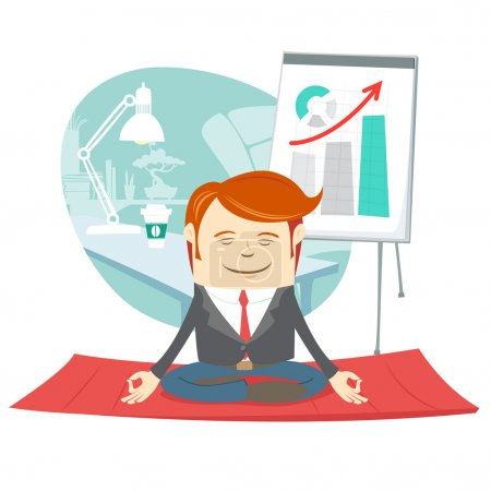 Office hipster man doing yoga pose lotus (meditating) near his w