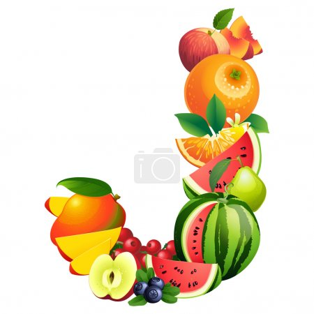 Letter J composed of different fruits with leaves