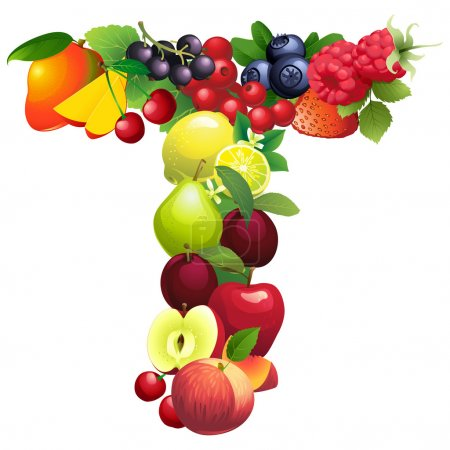 Letter T composed of different fruits with leaves