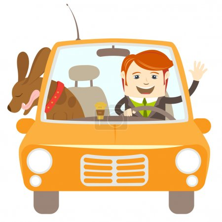 Hipster-traveler driving a car with his dog