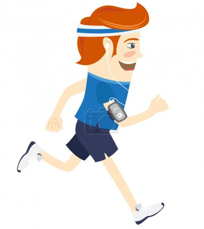 Hipster funny man running and listening music. Flat style