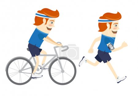 Set of Hipster funny sportsmen cycling and running. Flat style