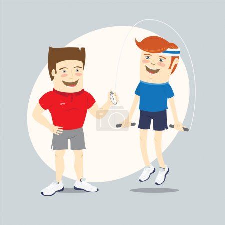 Fitness personal trainer and funny sportsman jumping with skippi