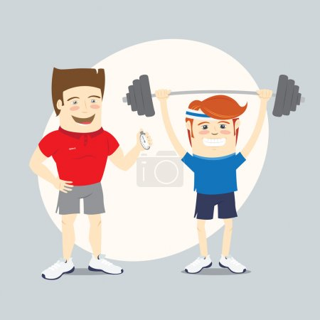 Fitness personal trainer and funny sportsman lifting barbell