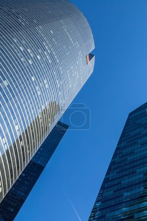 PARIS, FRANCE - MAY 10, 2015: View of Societe Generale headquarter (SG) in La Defense district, Paris. Societe Generale is a French multinational banking and financial services company.