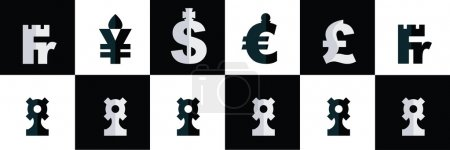 Chess - world currency, vector set