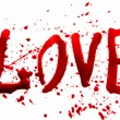 Bloody word Love with splatters, dropplets, stains...