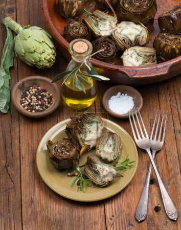 Artichokes,  olive oil and spices