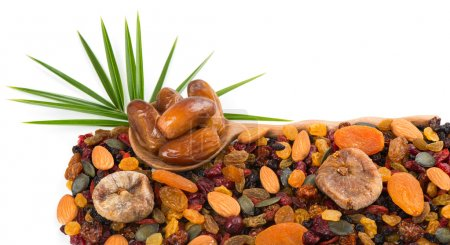 Photo pour Différentes variétés mélangent fruits secs et noix et feuilles vertes de palmier isolées sur fond blanc. L'accent est mis sur la cuillère avec des dates . - image libre de droit