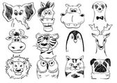 Set Of Funny Sketch Animal Face Icons