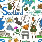 Fun colorful sketch Scottish seamless pattern on a white background Travel concept of Scotland symbols and association