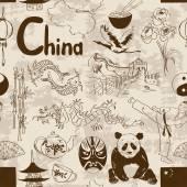 Fun retro sketch Chinese seamless pattern