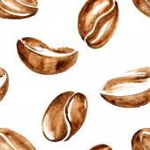 Vector watercolor coffee beans seamless pattern