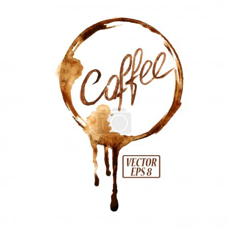 Illustration for Vector watercolor emblem with spilled coffee stains - Royalty Free Image