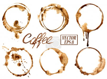 Illustration for Isolated vector watercolor spilled coffee stains icons - Royalty Free Image