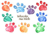 Set of watercolor animal footprints