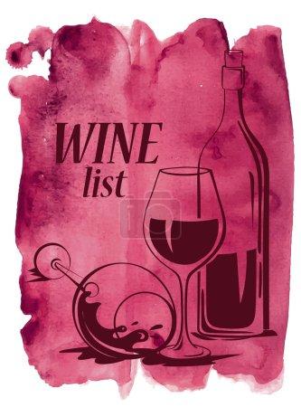 Illustration pour Fond d'aquarelle vectoriel dessiné à la main avec verres à vin et bouteille - image libre de droit