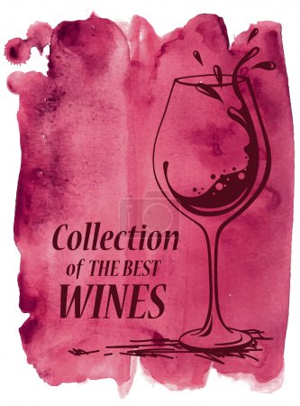 Illustration for Hand drawn vector watercolor background with wine glass - Royalty Free Image