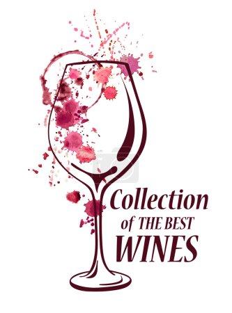 Illustration pour Emblème vectoriel aquarelle avec verre à vin, éclaboussures, taches et taches renversées - image libre de droit