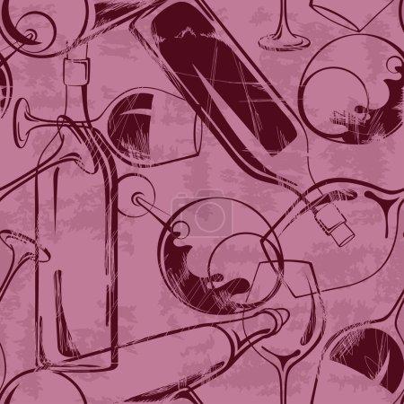 Illustration pour Vintage verres à vin abstraits et bouteilles motif sans couture - image libre de droit